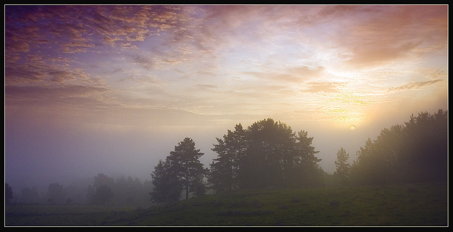 "photo ""Misty morning"" tags: landscape, sunset"