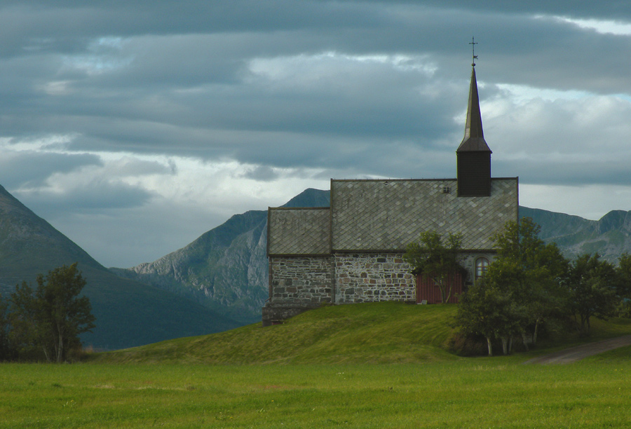 "photo ""Old church on the norvegian coast"" tags: architecture, landscape,"