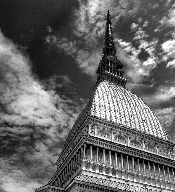 """photo """"Mole Antonelliana"""" tags: black&white,"""