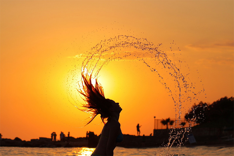 """фото """"Водяной взрыв"""" метки: пейзаж, портрет, женщина, закат"""