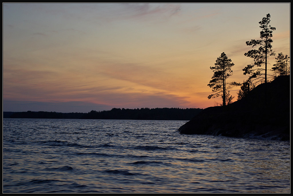 "photo ""White nights in Lake Ladoga"" tags: landscape, sunset, water"