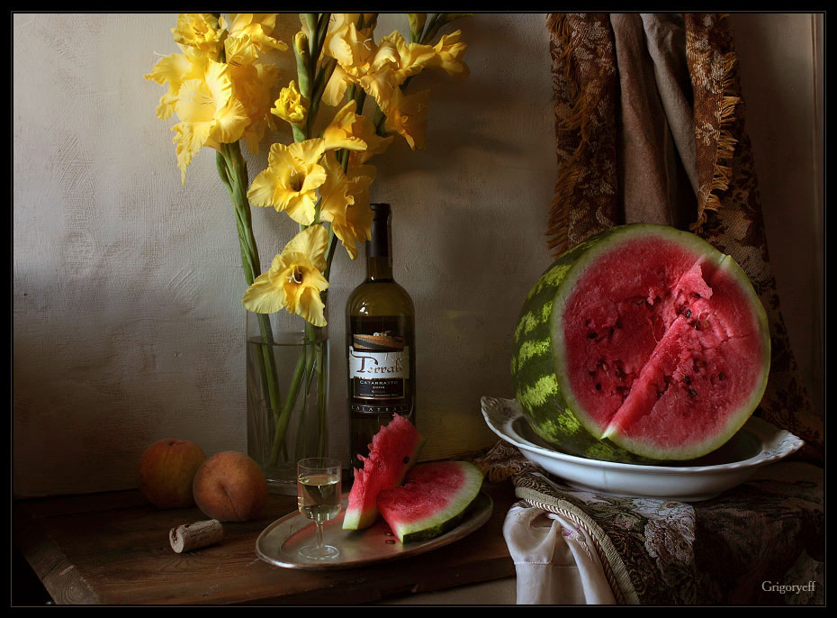 "photo ""Still life with watermelon and yellow flowers"" tags: still life,"