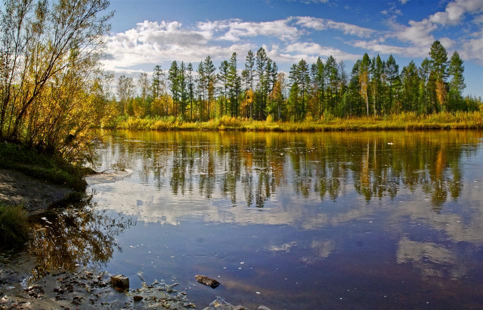 "фото ""Глянцевая  осень"" метки: пейзаж, вода, осень"