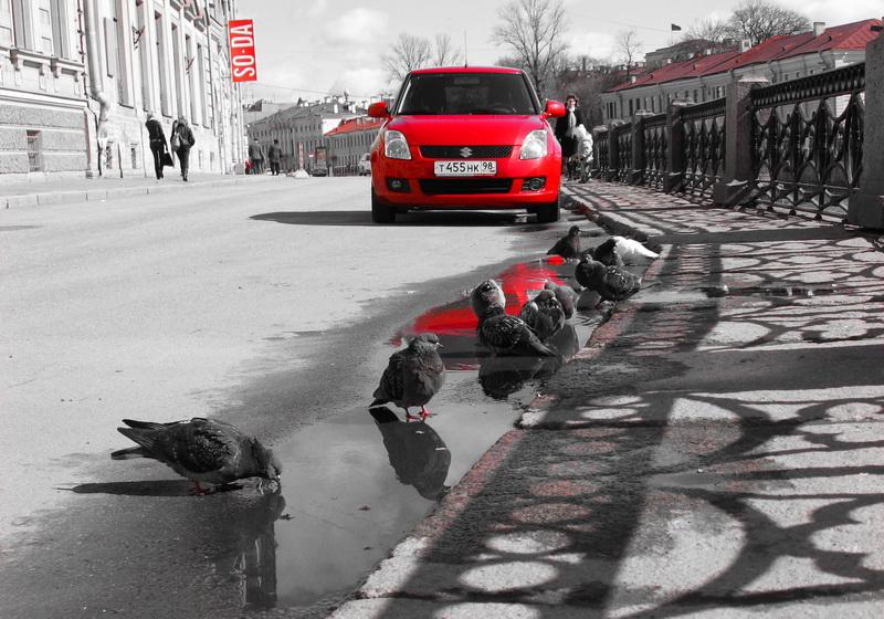 """фото """"Красное и серое. Часть 2. Питер."""" метки: город, техника,"""