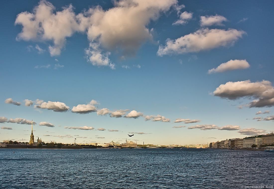 """фото """"Невские просторы.."""" метки: пейзаж, архитектура, город, Санкт-Петербург, вода, облака, река"""