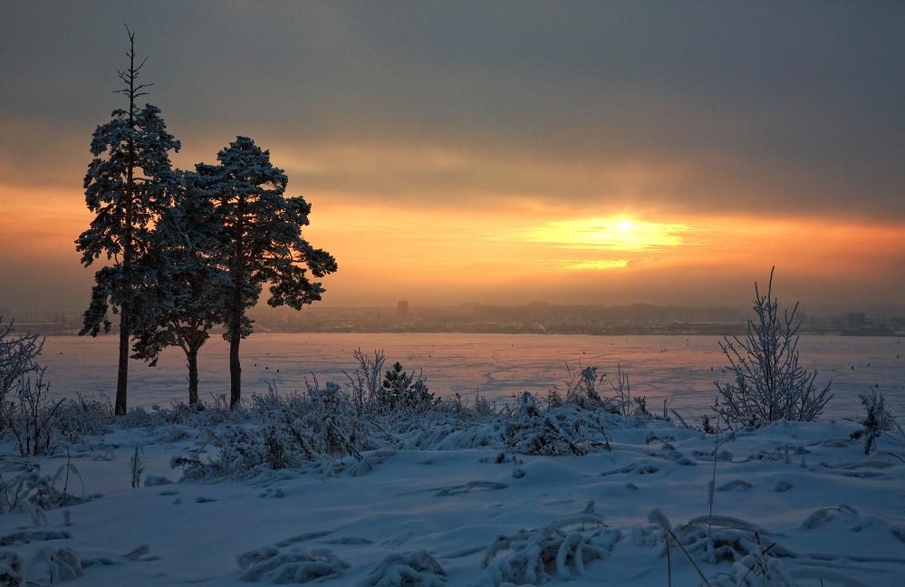 """фото """"Сияние зимнего заката"""" метки: пейзаж, закат, зима"""