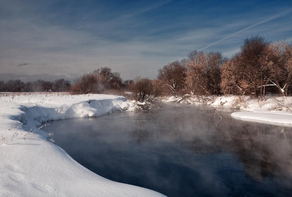 """фото """"Теплая речка"""" метки: пейзаж, зима"""