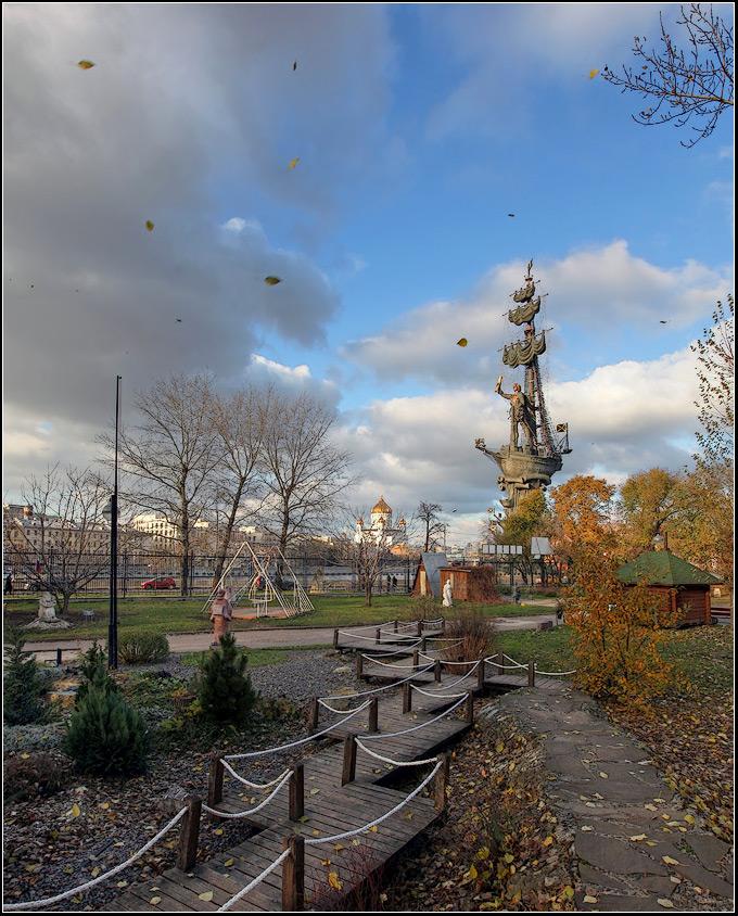 """фото """"Осень. Листья летят."""" метки: пейзаж, город, осень"""