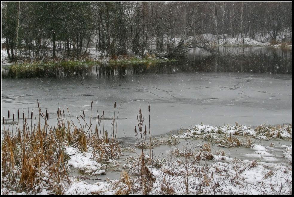 """фото """"Начало зимы. Снег идёт."""" метки: пейзаж, вода, зима"""