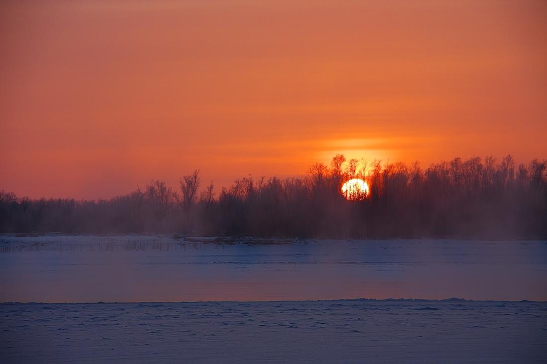"""фото """"Полынья"""" метки: пейзаж, закат, зима"""