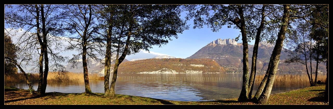 "фото ""Panoramic Wiew : Annecy lake"" метки: пейзаж, панорама, осень"