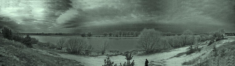 """фото """"Старица в Солотче"""" метки: панорама, черно-белые,"""
