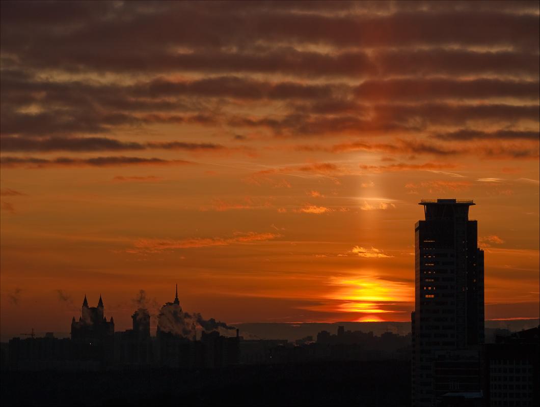 "photo ""Sun wakes"" tags: landscape, sunset"
