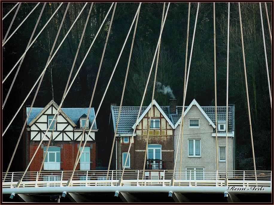 "photo ""behind the bridge"" tags: architecture, landscape,"