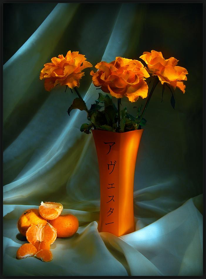 "photo ""Orange roses"" tags: still life,"