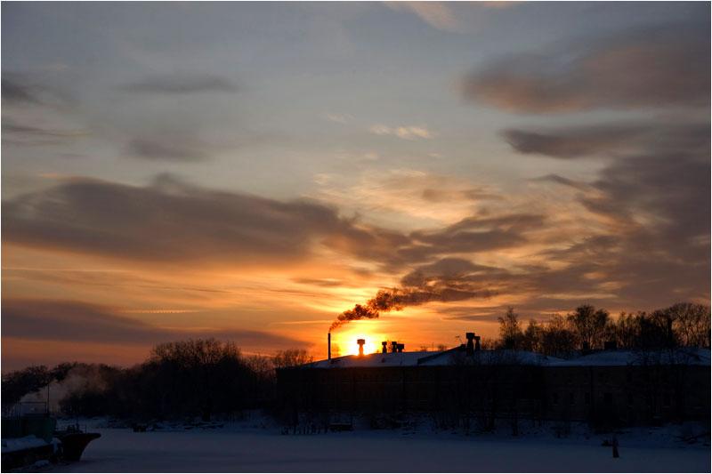"фото ""морозный зимний вечер"" метки: пейзаж, закат, облака"