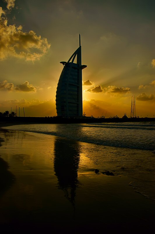 "фото ""Бурдж аль-Араб"" метки: пейзаж, путешествия, Азия, закат"