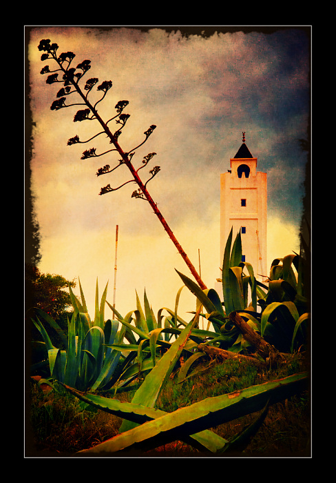 "photo ""Sidi Bou Said town. A minaret."" tags: architecture, travel, landscape, Africa"