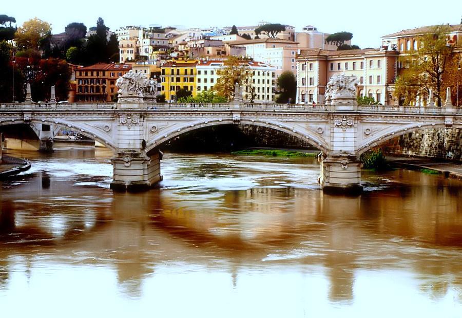 "фото """"Bridge Over the Tiber River"""" метки: путешествия, Европа"
