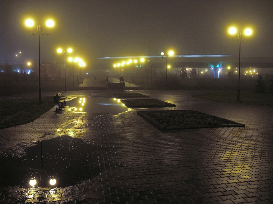 """photo """"Fog in the City again"""" tags: landscape, city, night"""
