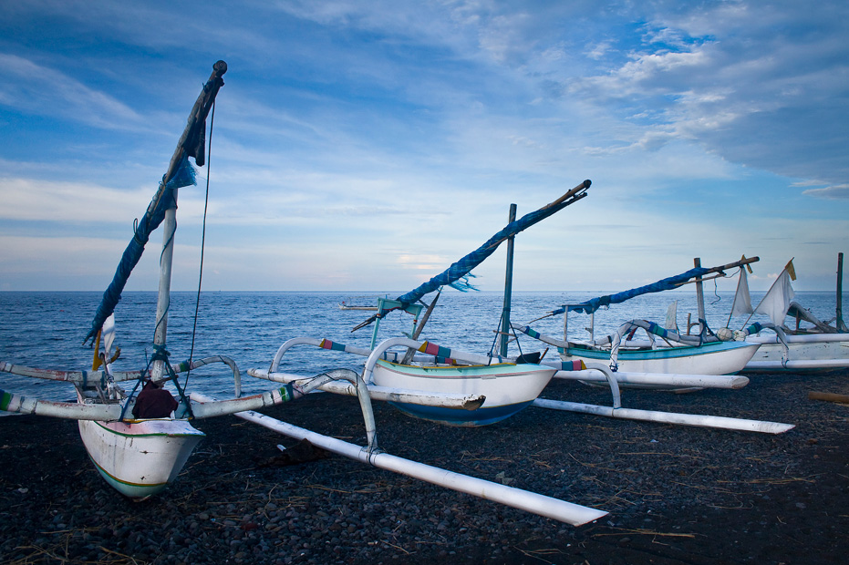 "photo ""fishing boats on the shore in Amed, Bali"" tags: landscape, travel, Asia, water"