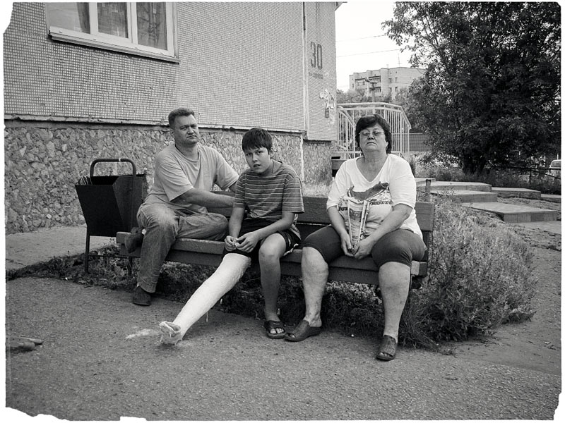 "photo ""Family on the Bench"" tags: genre, black&white,"
