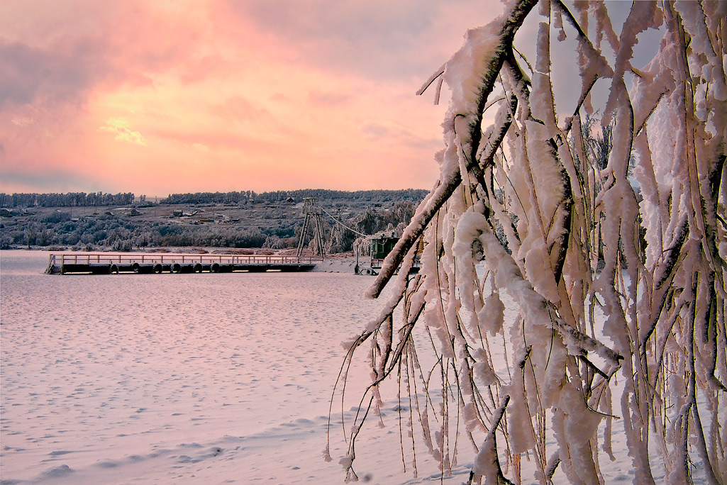 "photo ""Watercolor frosty sunset"" tags: landscape, sunset, winter"