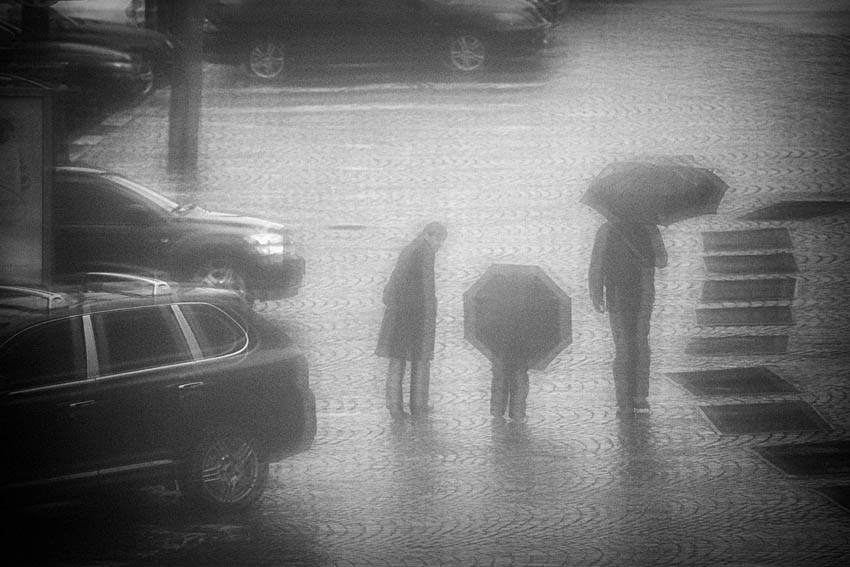 "photo ""Today there was a rain"" tags: street, black&white,"
