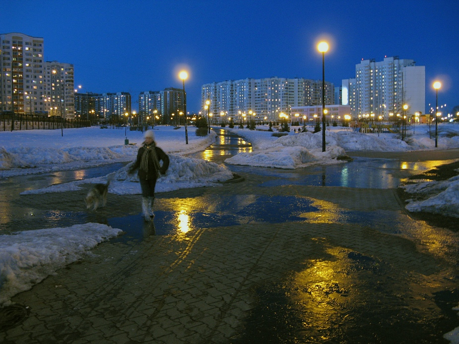 "photo ""Freezing March"" tags: landscape, city, night"