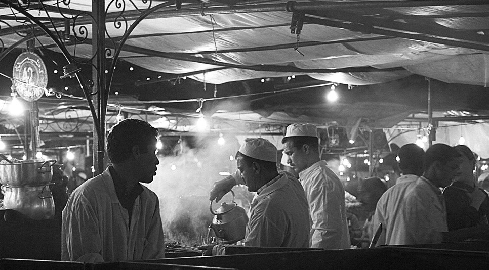 "photo ""Food stall, Marrakech"" tags: black&white, travel, Africa"