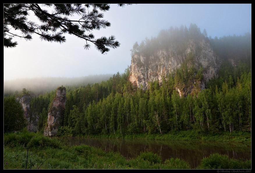 "photo ""Chusovaya river / 0174_0008"" tags: landscape, fog, mountains, rocks, summer, sunrise"
