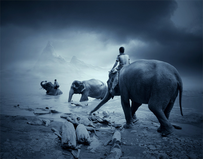 "photo ""the mahout of the dreamland"" tags: digital art, landscape,"