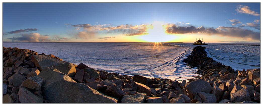 "photo ""Ferry at Riutunkari"" tags: landscape, spring, sunset"