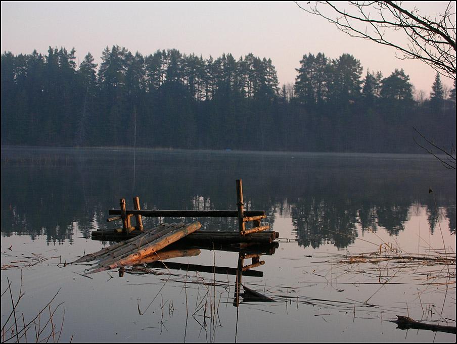 "photo ""April, morning, lake"" tags: landscape, spring, sunset"
