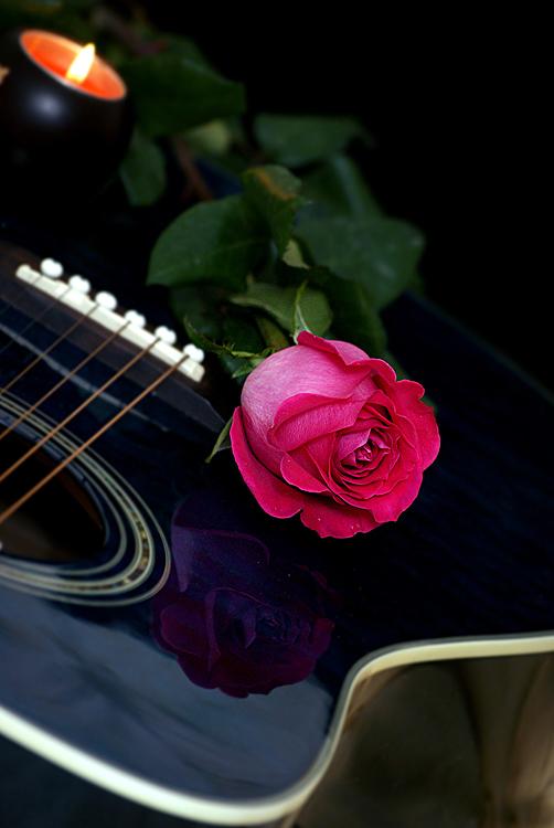 "photo ""гитара роза натюрморт свеча"" tags: still life, nature, flowers"