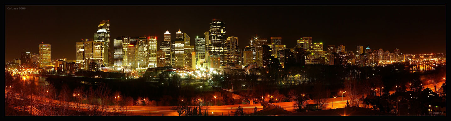 "photo ""Calgary DT, Night (2006)"" tags: architecture, travel, landscape, North America"