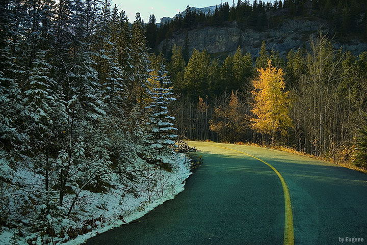 "photo ""Autumn vs Winter"" tags: landscape, autumn, mountains"