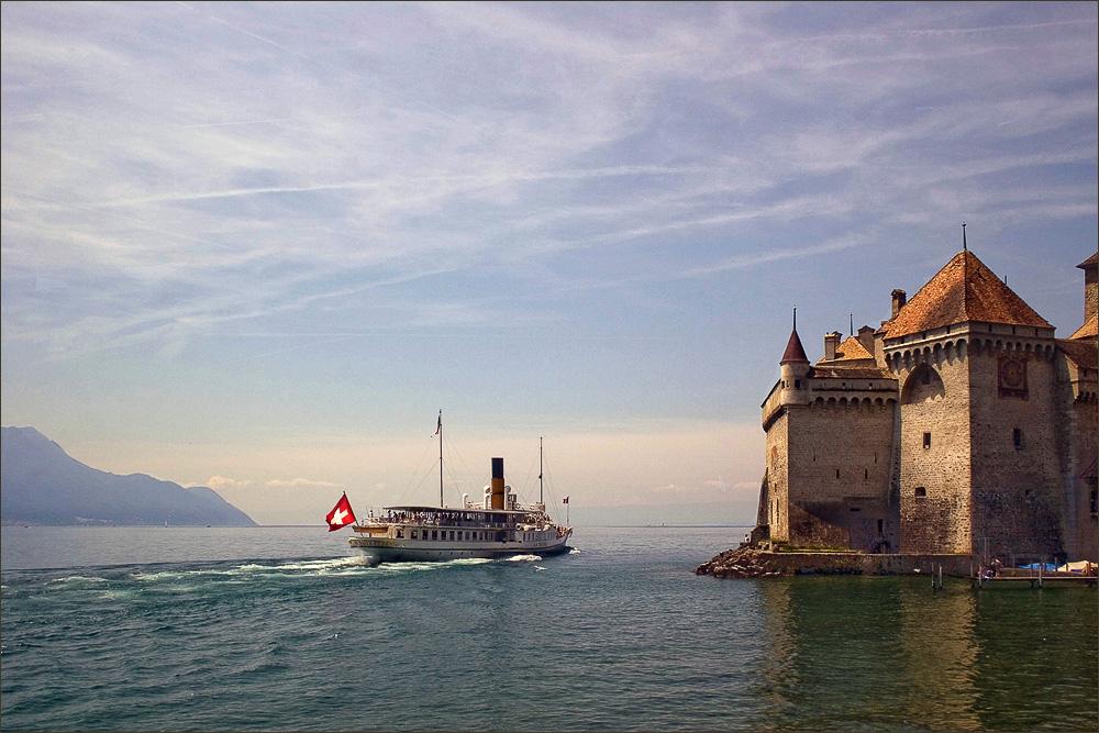 """photo """"Lake Geneva. Chillon Castle"""" tags: landscape, architecture, water"""