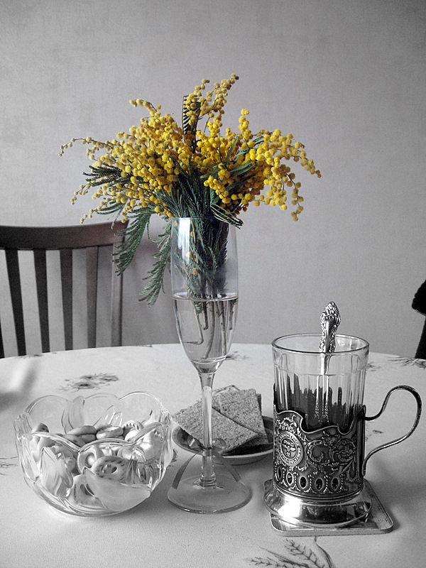 "photo ""чаепитие,весна,мимоза,натюрморт"" tags: still life, misc.,"