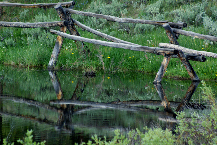 "photo ""fence on pond"" tags: landscape, water"