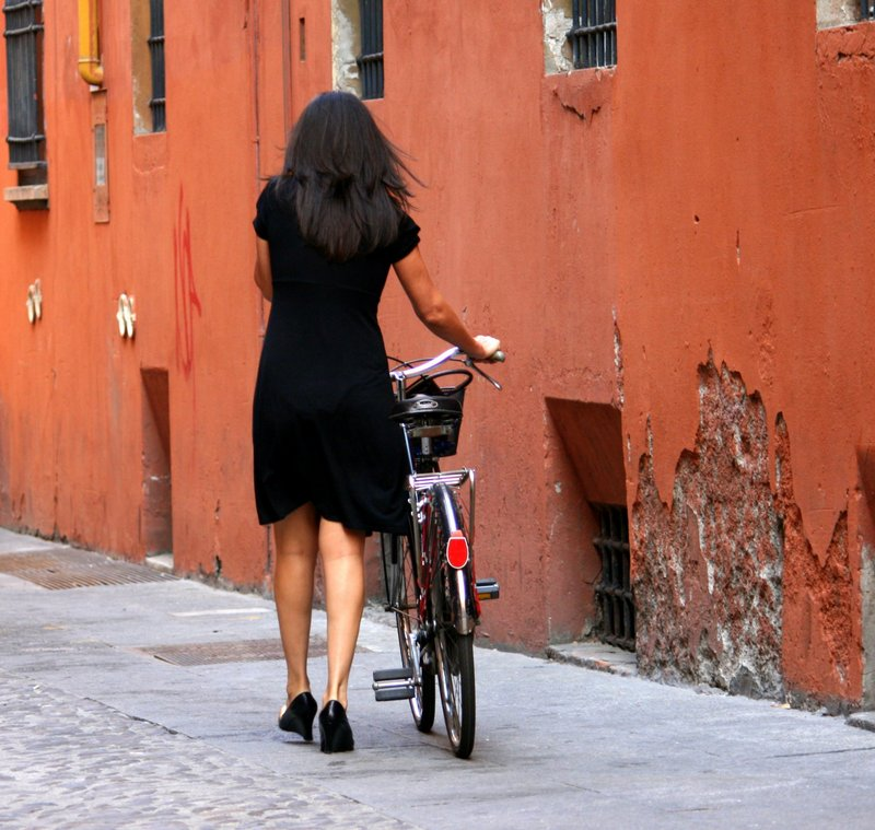 "photo ""Woman with Bicycle"" tags: travel, city, Europe"
