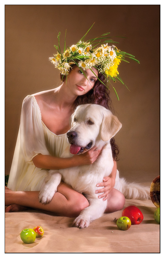 "photo ""On Ivan Kupaly's eve"" tags: portrait, nature, pets/farm animals, woman"