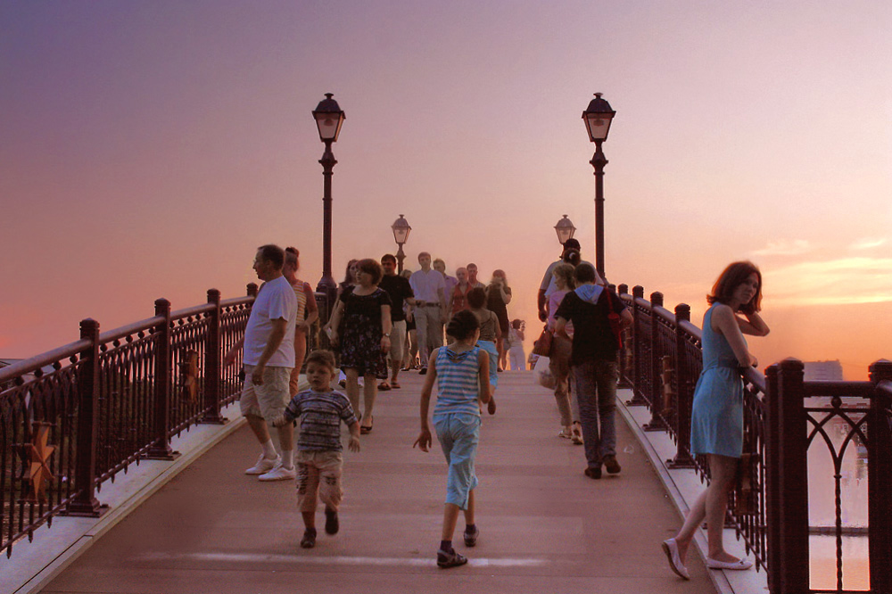 "photo ""Bridges and lights Caricyno hot evening."" tags: landscape, summer"