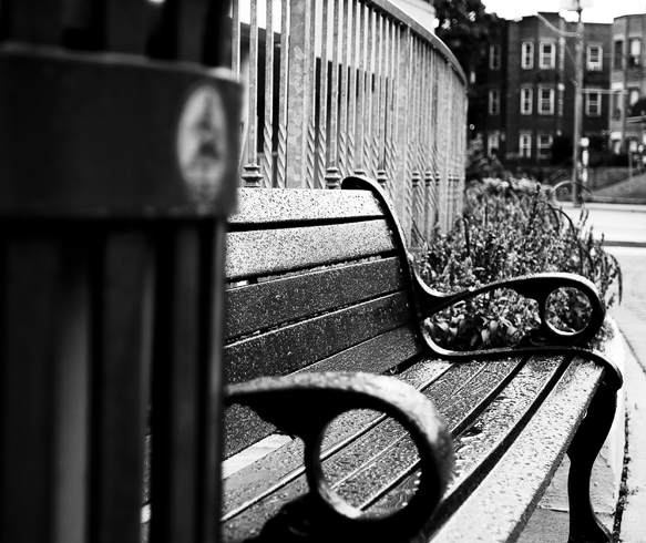 "photo ""The Bench"" tags: black&white, still life,"