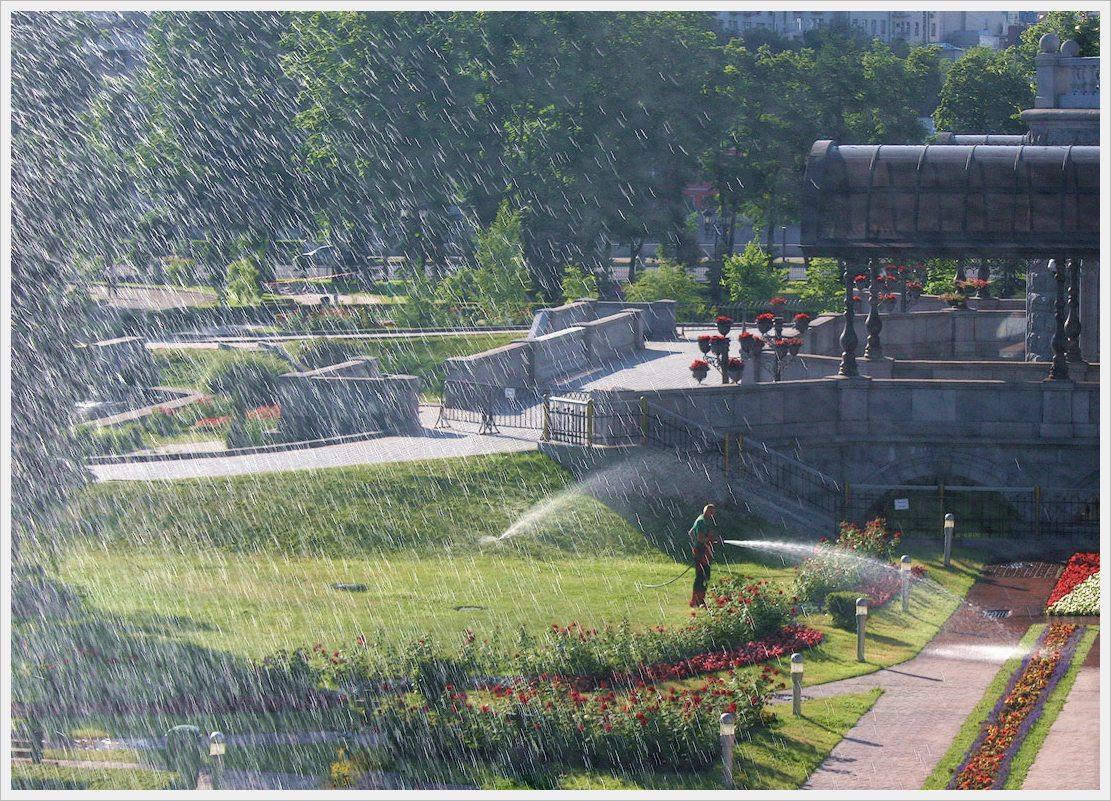 "photo ""Morning washing"" tags: city, landscape, summer"