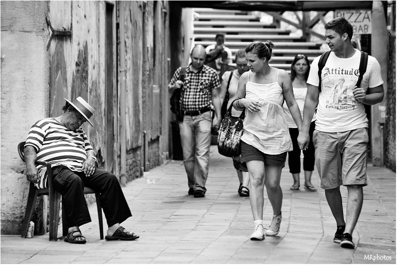 "photo ""sleeping in Venezia"" tags: humor, fragment,"
