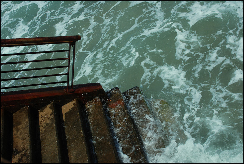 "photo ""Staircases leading into the sea."" tags: landscape, misc., water"