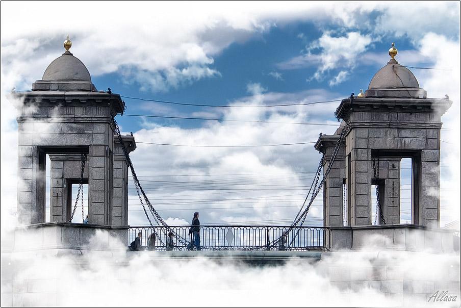 "фото ""Мостик в облаках"" метки: архитектура, digital art, пейзаж,"