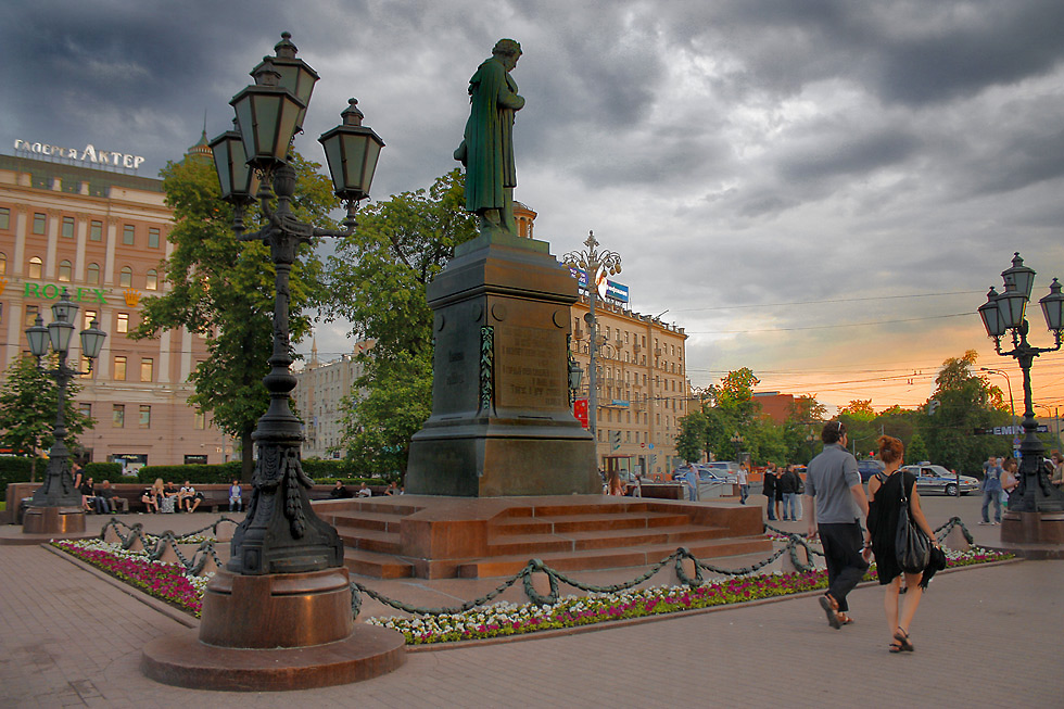 """фото """"Вечер на Пушкинской площади."""" метки: город,"""