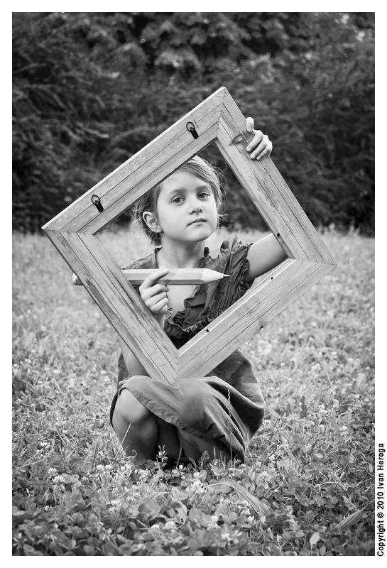 "photo ""The World is My Canvas"" tags: portrait, black&white, children"